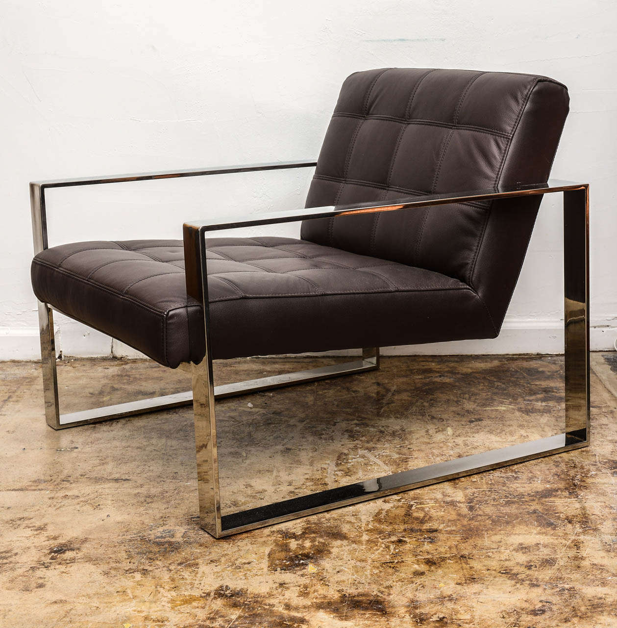 Pair Of Modern Milo Baughman Style Chairs And Ottoman