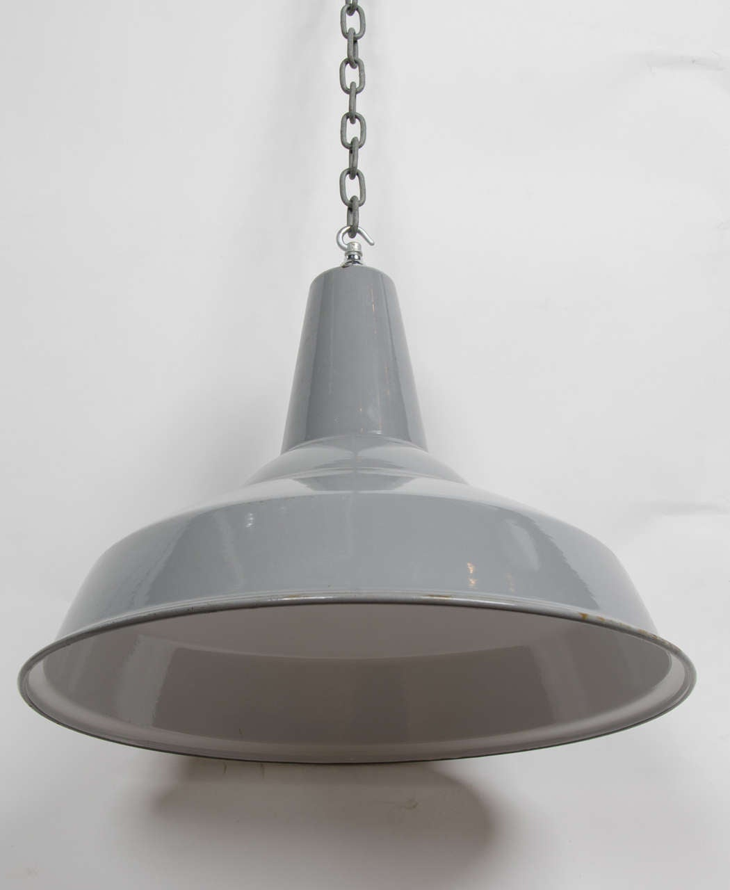 Vintage White And Grey Enamel Factory Light Shades At 1stdibs