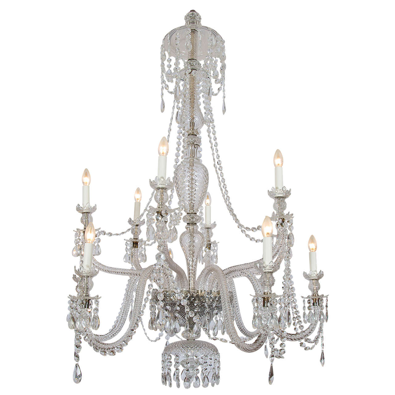 Double Tiered Crystal and Glass Chandelier in the Georgian Style
