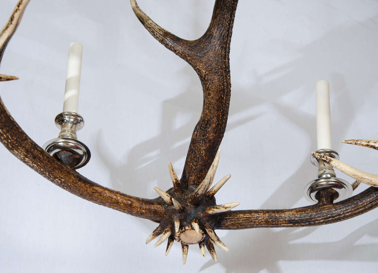 Antler Chandelier With Nickel Plated Finish At 1stdibs