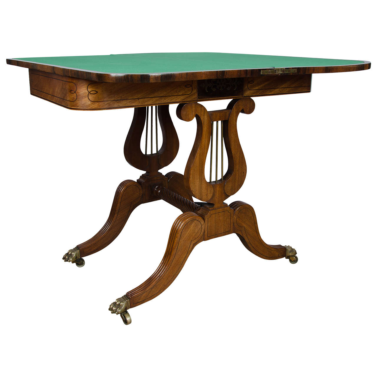 19th Century Mahogany Card Table with Double Lyre Design  : X from www.1stdibs.com size 1280 x 1280 jpeg 83kB