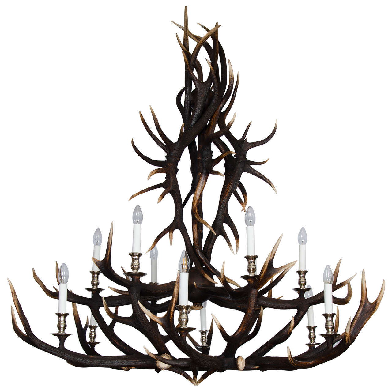 Custom-Made Two-Tier Antler Chandelier