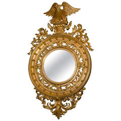 Late 19th Century Carved Giltwood Round Mirror