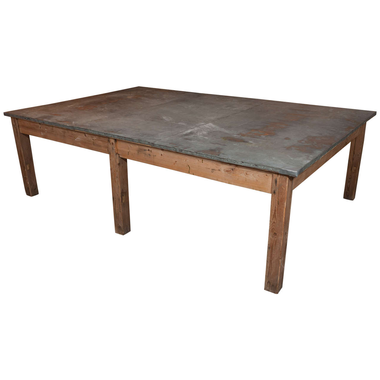 Large Pine And Zinc Table Belgium Circa 1910 At 1stdibs. Full resolution  image, nominally Width 1280 Height 1280 pixels, image with #8C613F.