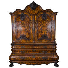 18th Century Dutch Marquetry Armoire