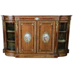 "19th Century bow fronted side cabinet with porcelain plaques. 77"" wide (196cm)"