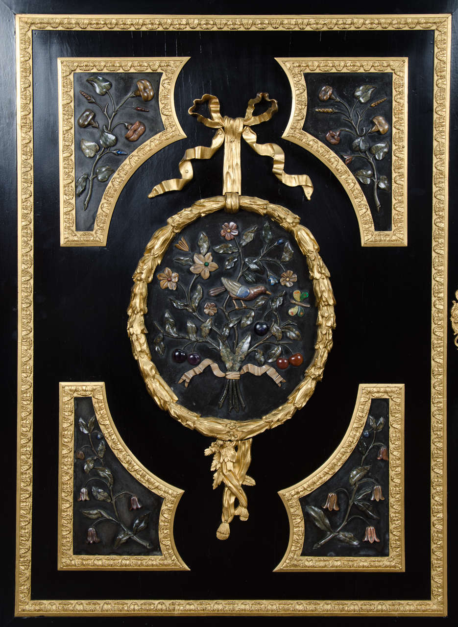 Inlay Large French Pietra-Dura Cabinet, 19th Century For Sale