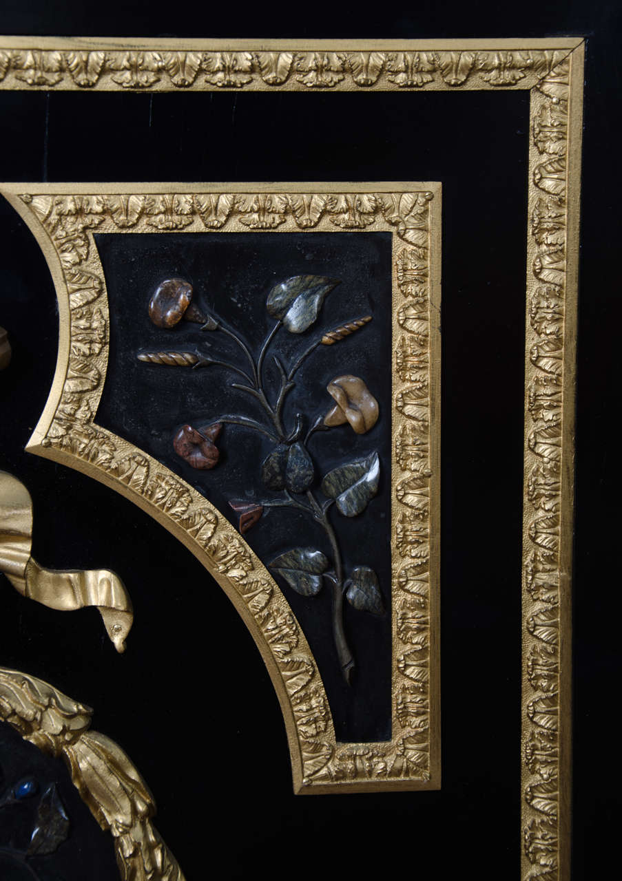 Large French Pietra-Dura Cabinet, 19th Century For Sale 2