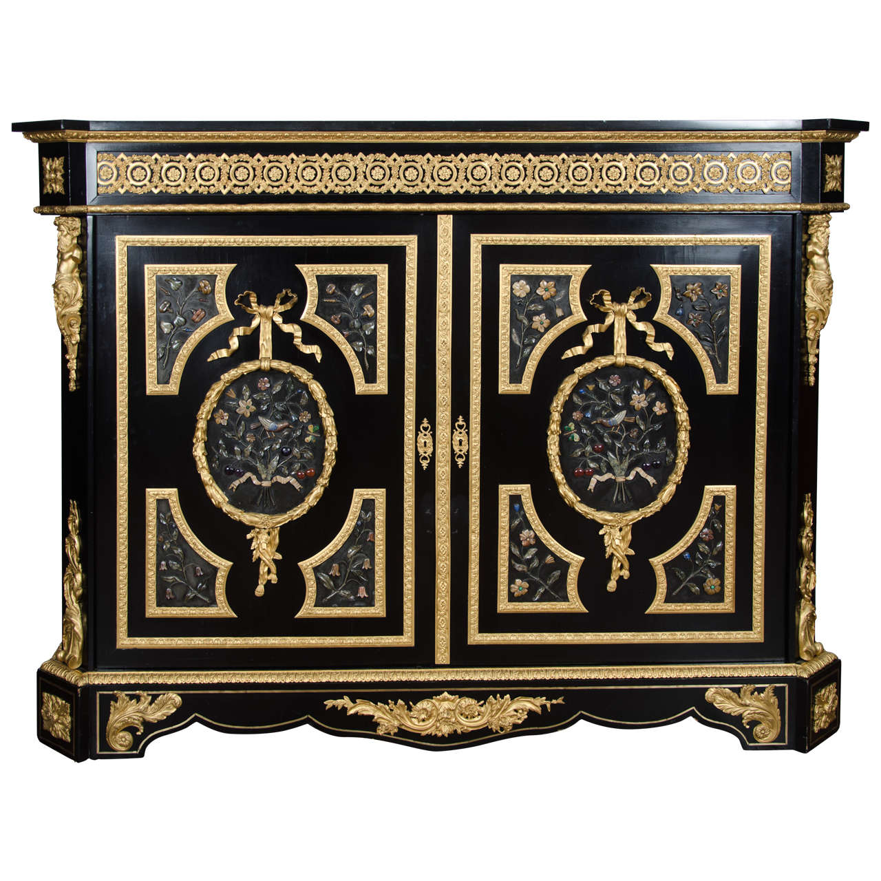 Large French Pietra-Dura Cabinet, 19th Century