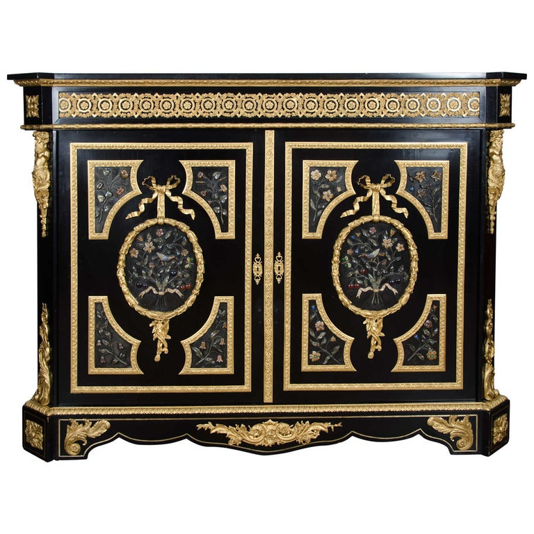 Large French Pietra-Dura Cabinet, 19th Century For Sale
