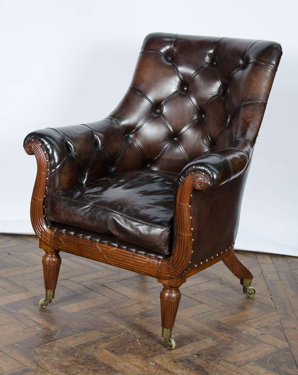 European Pair of 19th Century Library Chairs For Sale