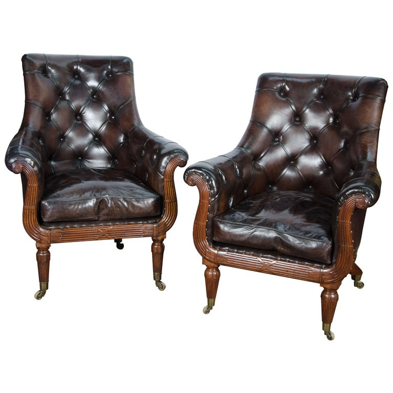Pair of 19th Century Library Chairs For Sale