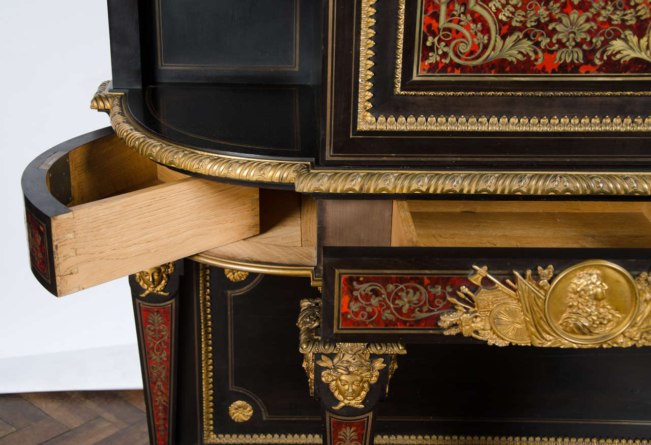 Brass Fine Quality Antique Boulle Style Side Cabinet For Sale