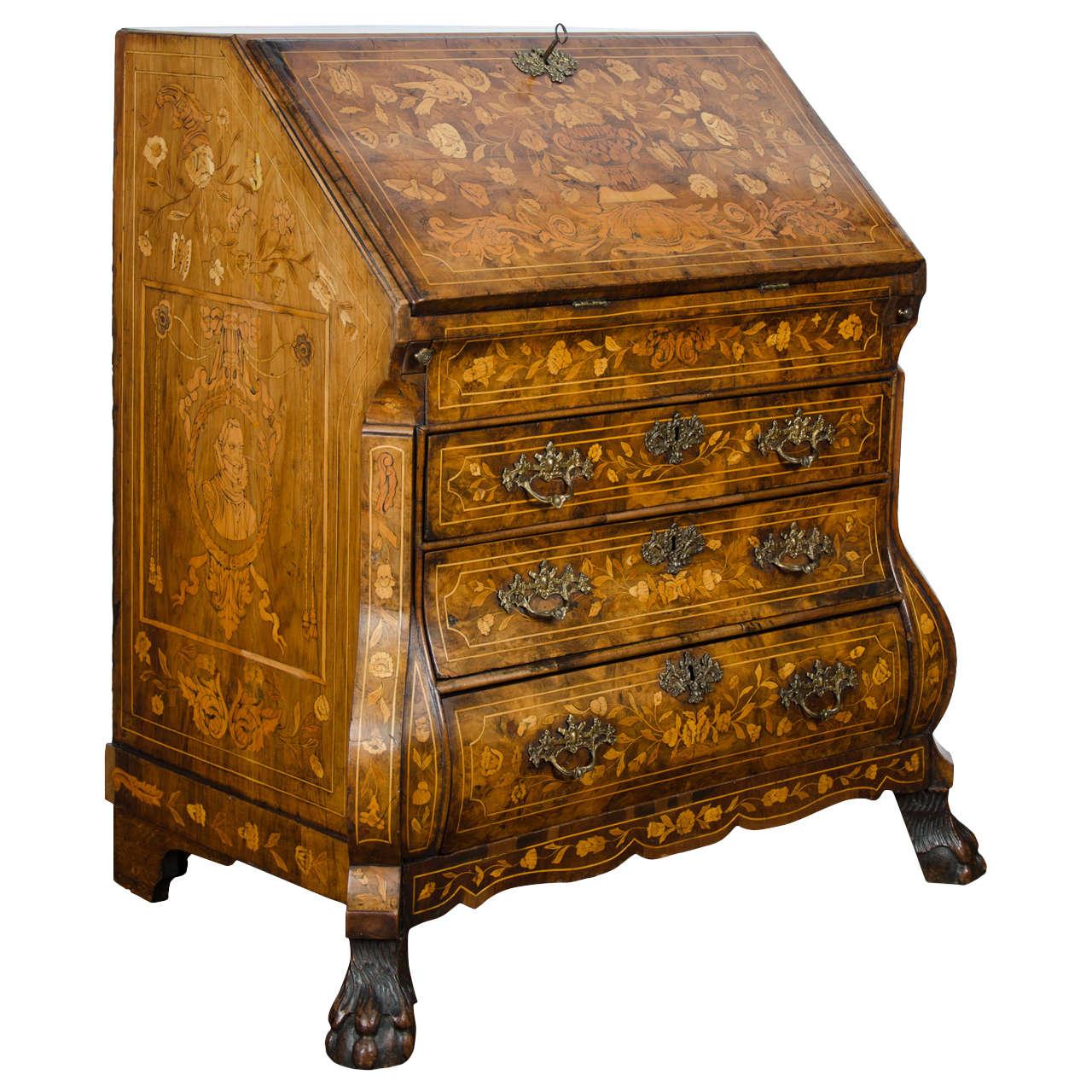 18th Century Walnut Dutch Marquetry Bureau 1. 18th Century Walnut Dutch Marquetry Bureau For Sale at 1stdibs