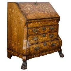 Dutch Marquetry Walnut Bureau, 18th Century,