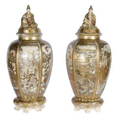 Large Pair of Antique Satsuma Vases