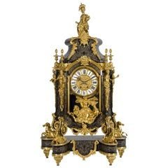 Large Antique French Boulle Style Mantel Clock