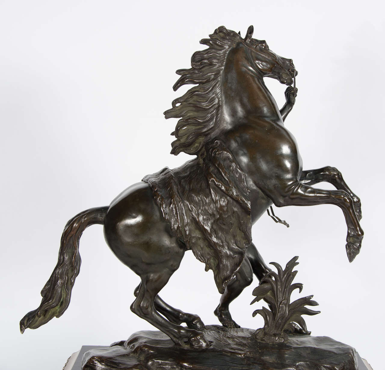 Large Pair of 19th Century Bronze Marley Horses on Boulle Stands 32