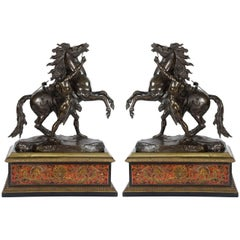 """Large Pair of 19th Century Bronze Marley Horses on Boulle Stands 32""""(81cm)"""