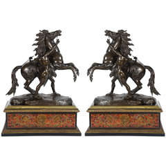 Large Pair of 19th Century Bronze Marley Horses on Boulle Stands