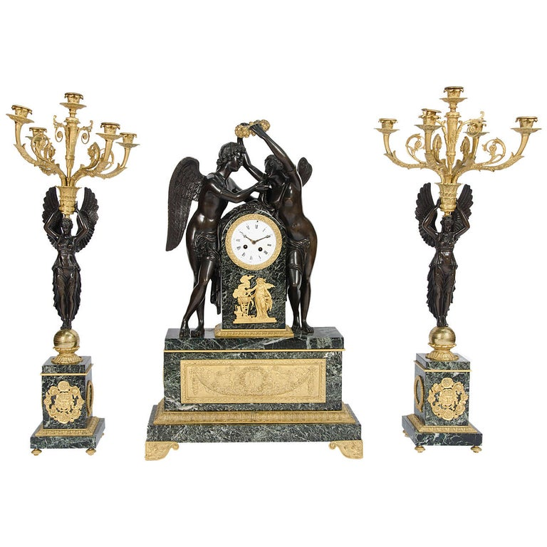 "Large impressive French Empire style Clock Garniture 32""(81cm) high For Sale"