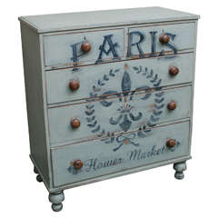 Five-Drawer English Chest with Later Paint Decoration, circa 1850