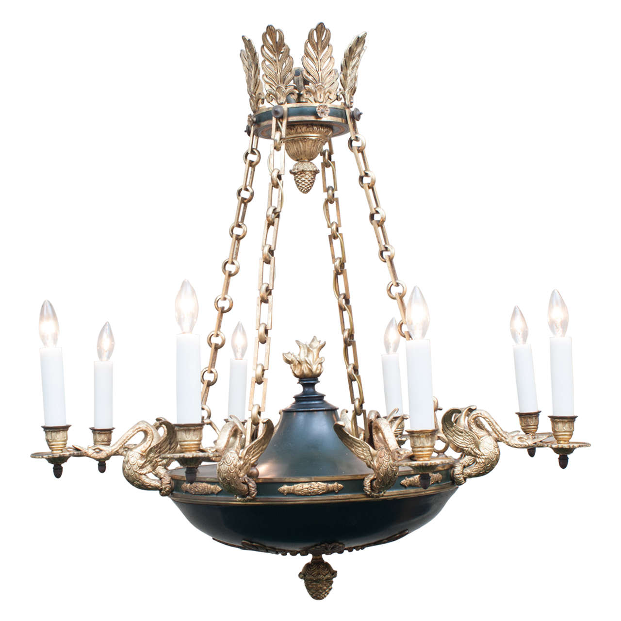 Empire Style Eight Light Gilt Brass And Tole Chandelier France Circa 1890