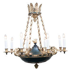 Empire Style Eight-Light Gilt Brass and Tole Chandelier, France, circa 1890