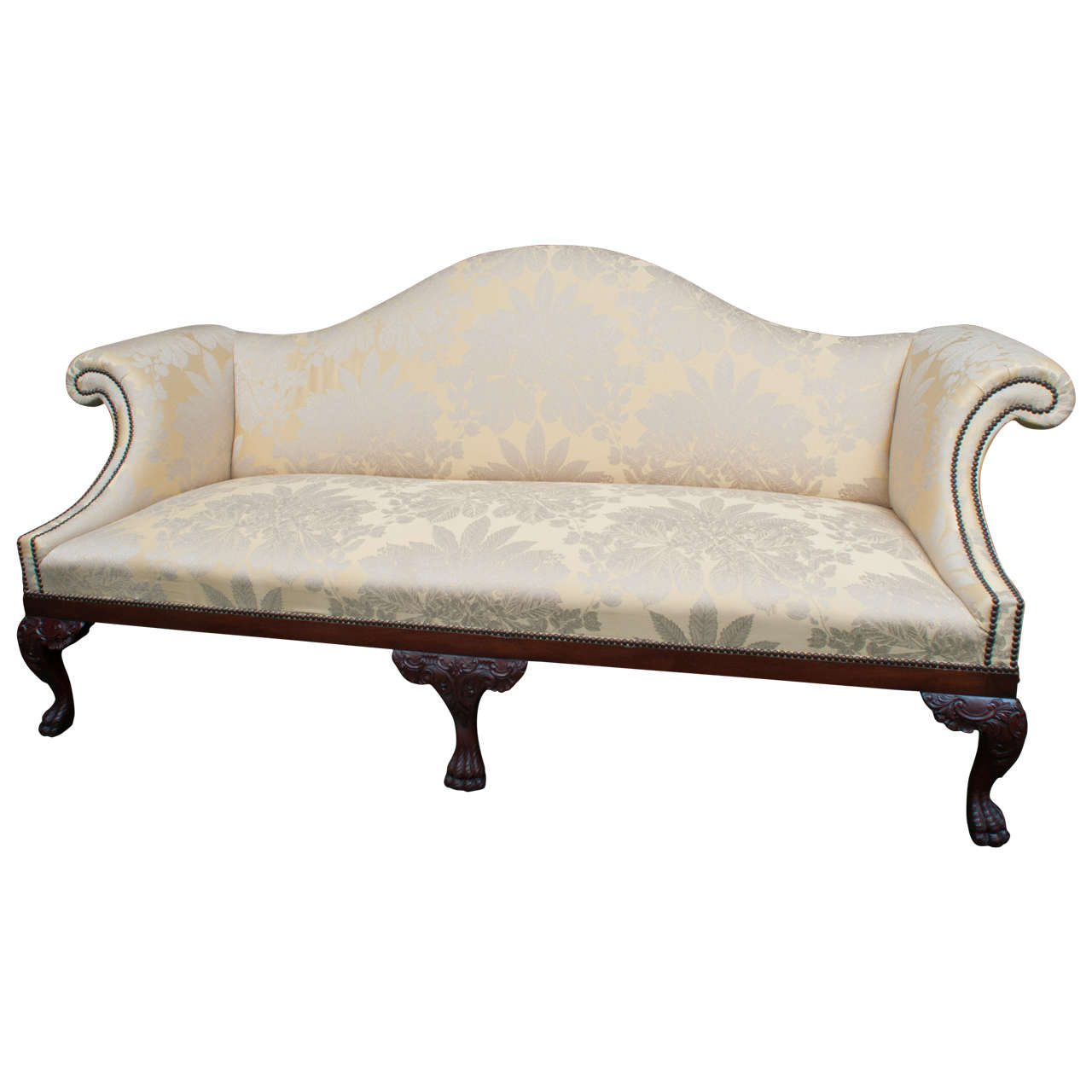 Large Georgian Style Chippendale Camelback Sofa England Or Ireland Circa 1890 For