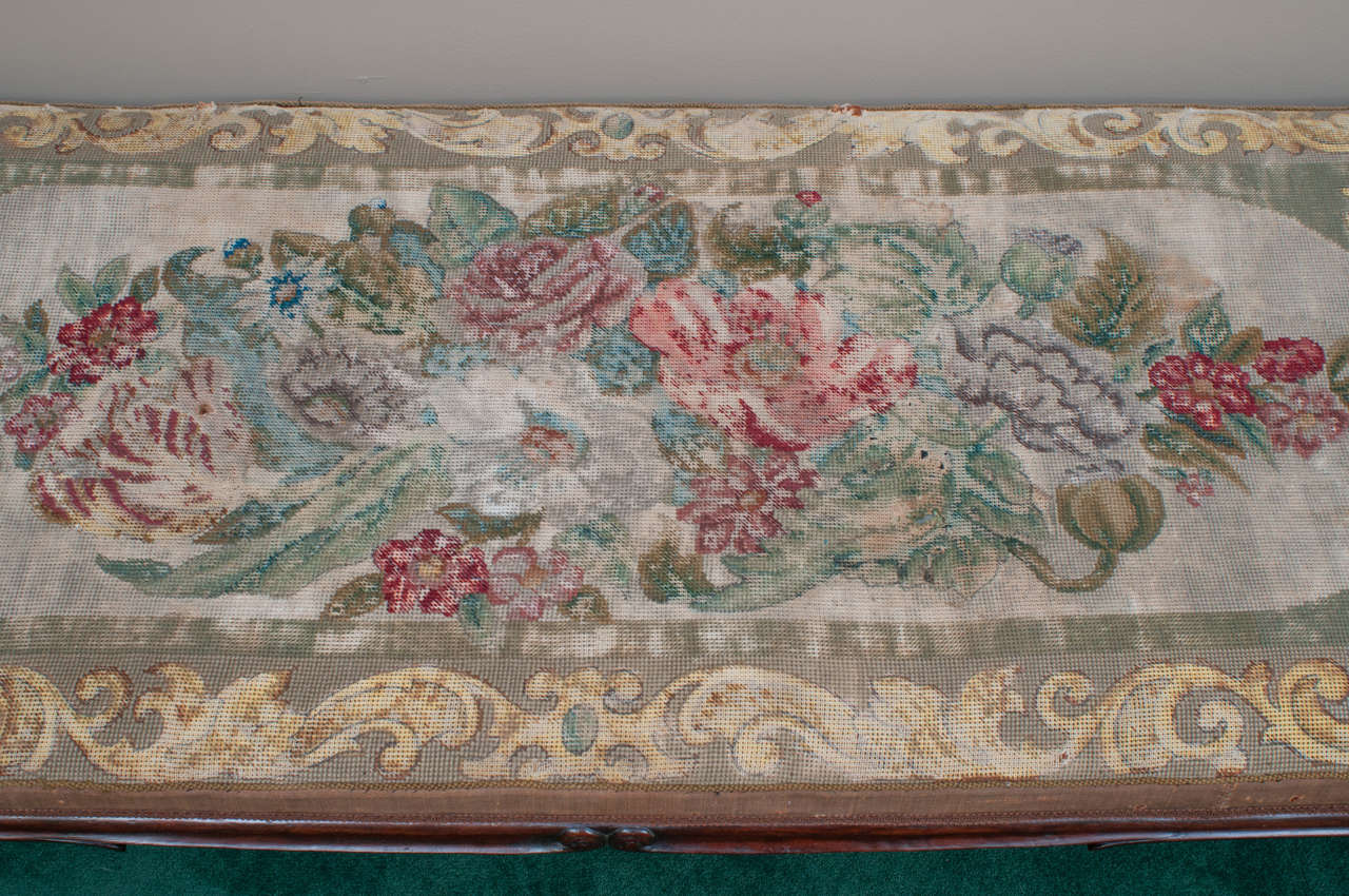 Rococo Revival Mid-19th Century Mahogany Bench with Old Needlepoint, England, circa 1840 For Sale