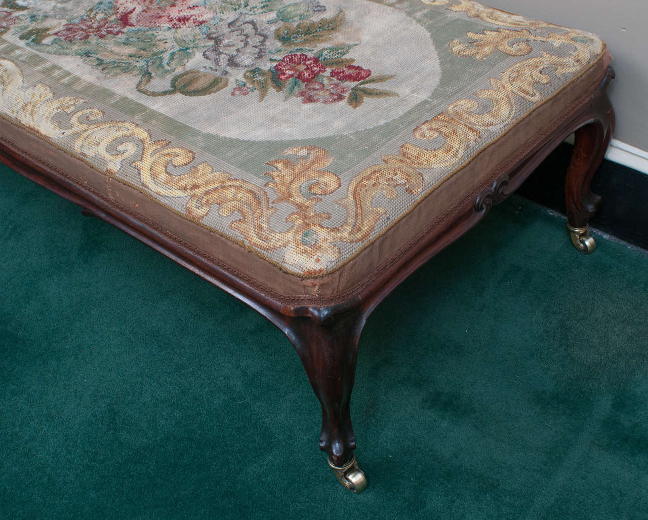 English Mid-19th Century Mahogany Bench with Old Needlepoint, England, circa 1840 For Sale
