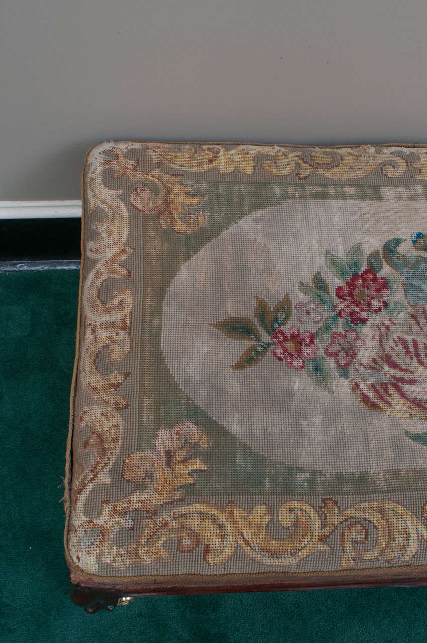 Mid-19th Century Mahogany Bench with Old Needlepoint, England, circa 1840 In Excellent Condition For Sale In Alexandria, VA