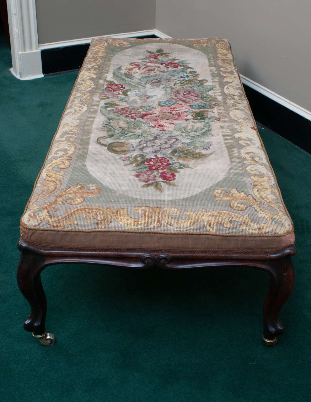 Mid-19th Century Mahogany Bench with Old Needlepoint, England, circa 1840 For Sale 1