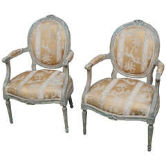 """Pair of Louis XVI Fauteuils or Armchairs Stamped """"Girard,"""" France, circa 1770"""