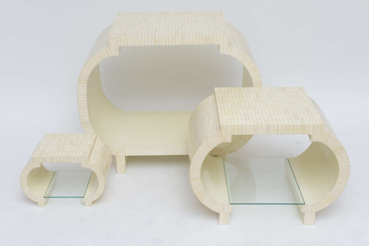 Tessellated Bone Étagère or Nesting Tables by Enrique Garcel 9