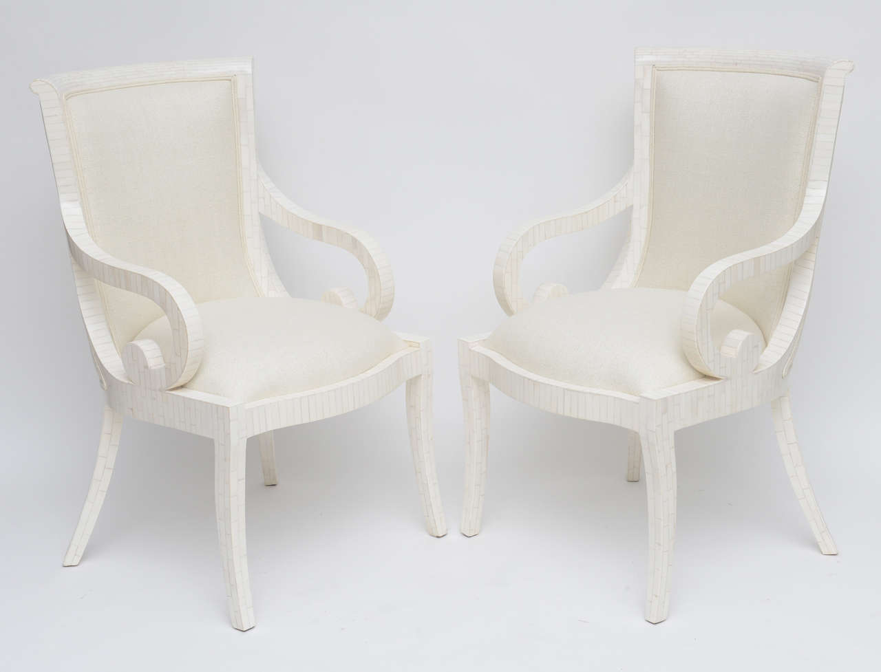 Pair of Fully Restored Tessellated Bone Armchairs with Silk Upholstery  In Excellent Condition For Sale In North Miami, FL
