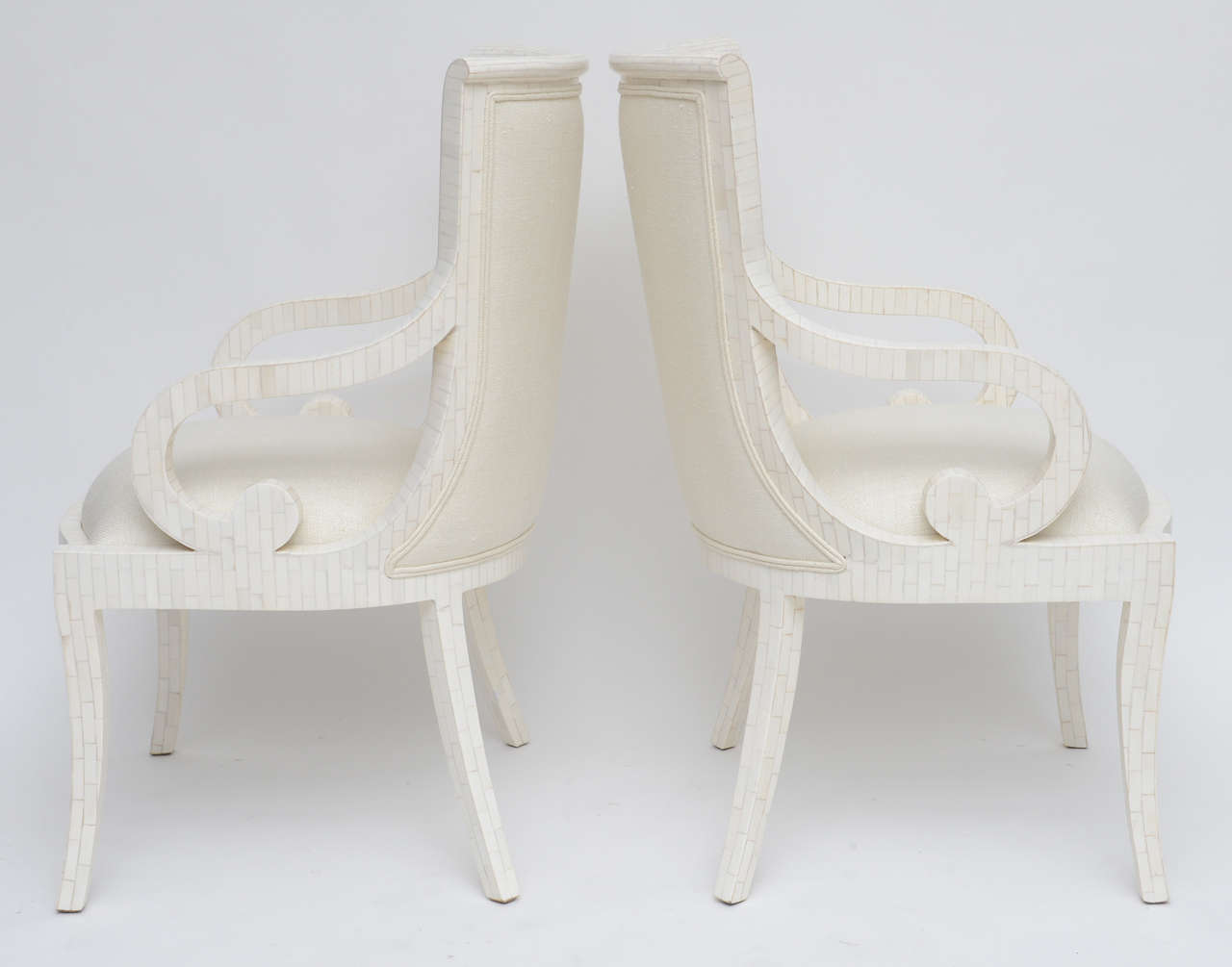 Pair of Fully Restored Tessellated Bone Armchairs with Silk Upholstery  For Sale 1