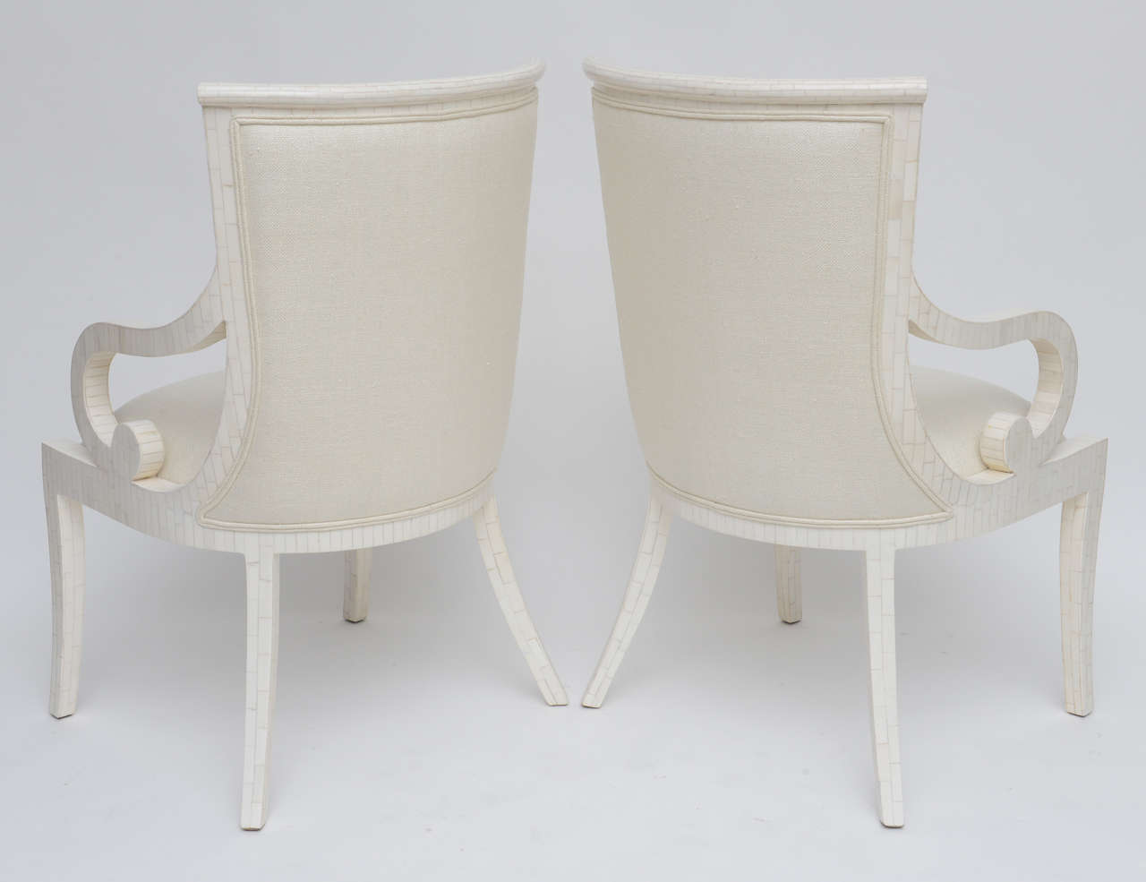 Pair of Fully Restored Tessellated Bone Armchairs with Silk Upholstery  For Sale 2