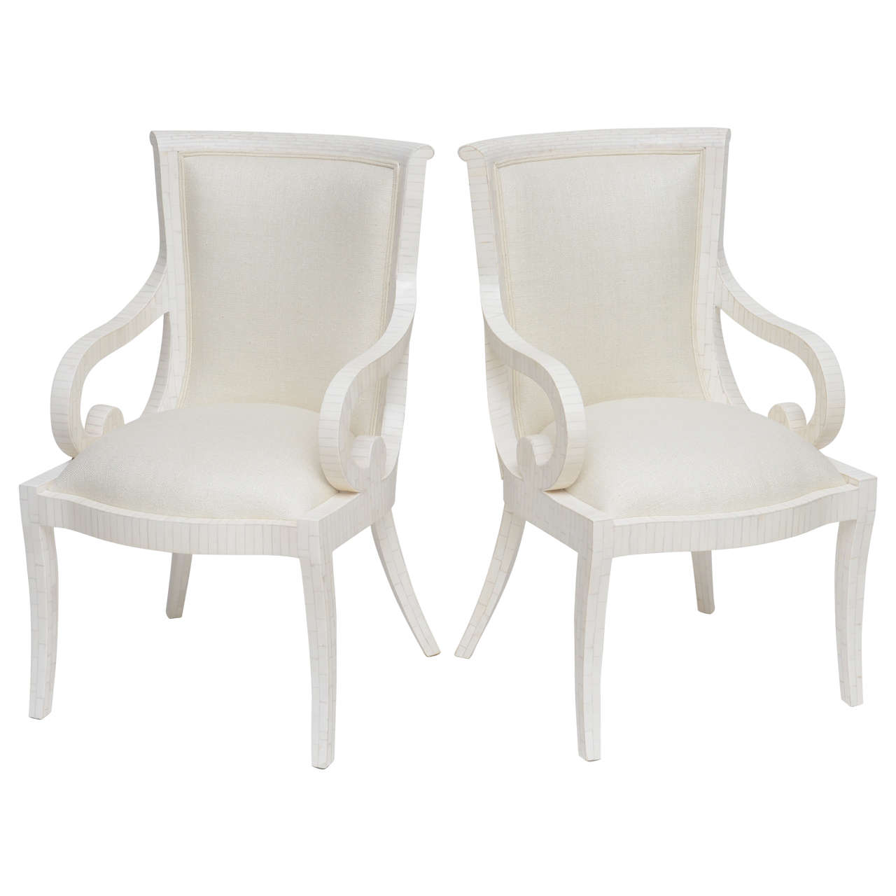 Pair of Fully Restored Tessellated Bone Armchairs with Silk Upholstery  For Sale