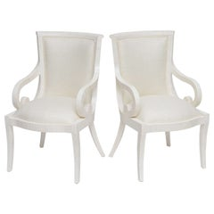 Fully Restored Tessellated Bone Armchairs with Silk Upholstery