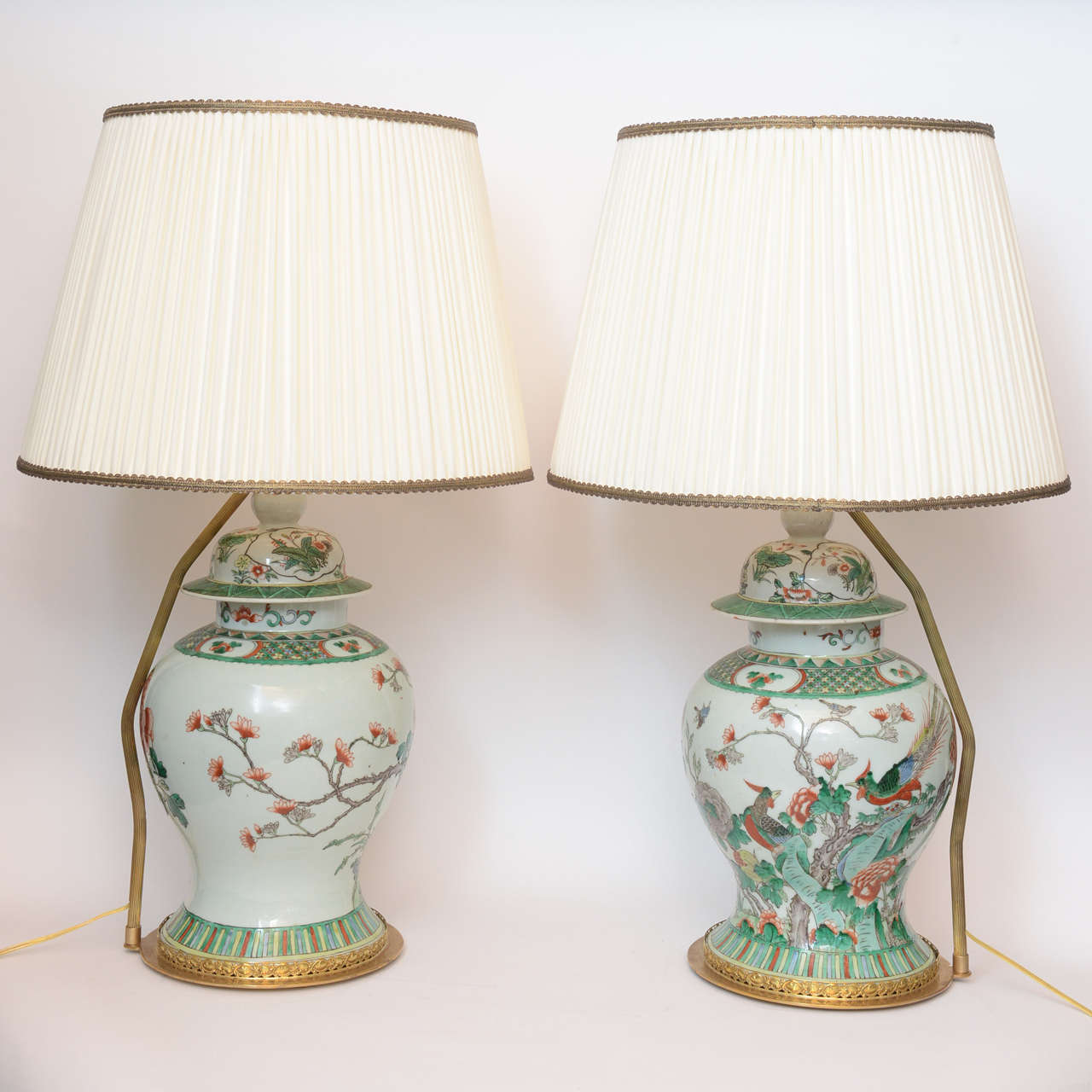 Pair Of 19th Century Chinese Ginger Jar Lamps With Painted Birds And Flowers For At 1stdibs