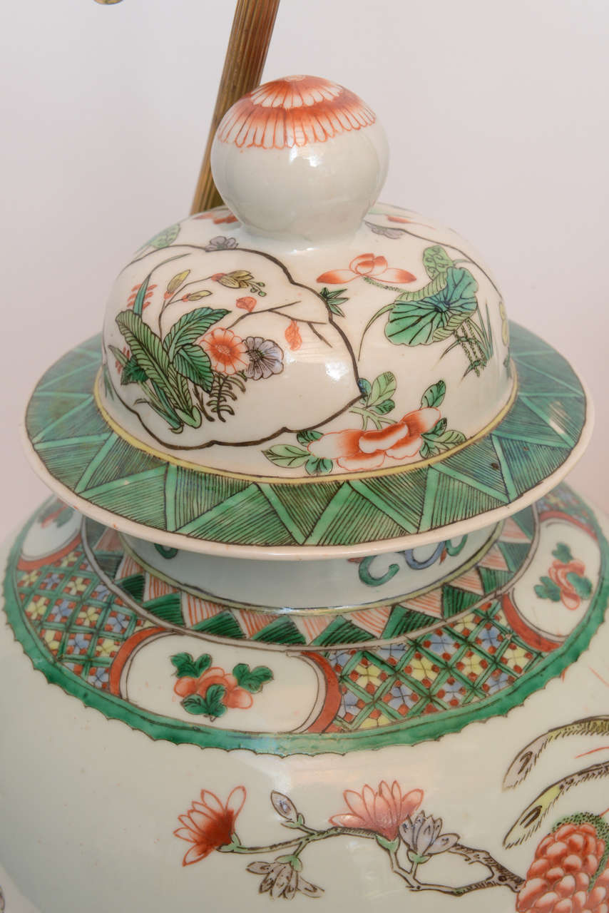 Pair Of 19th Century Chinese Ginger Jar Lamps With