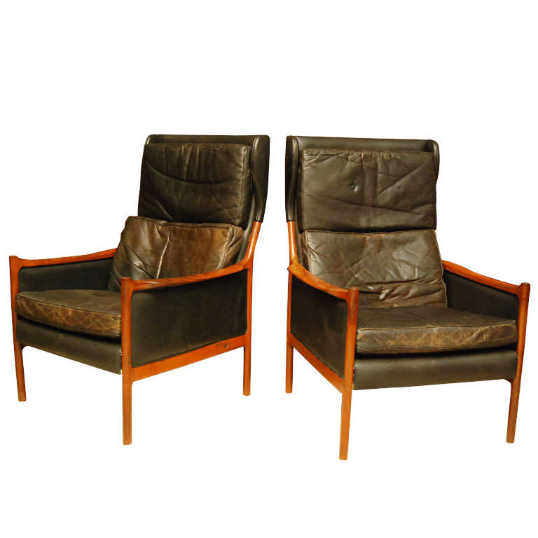 Pair Of Modern Library Chairs At 1stdibs
