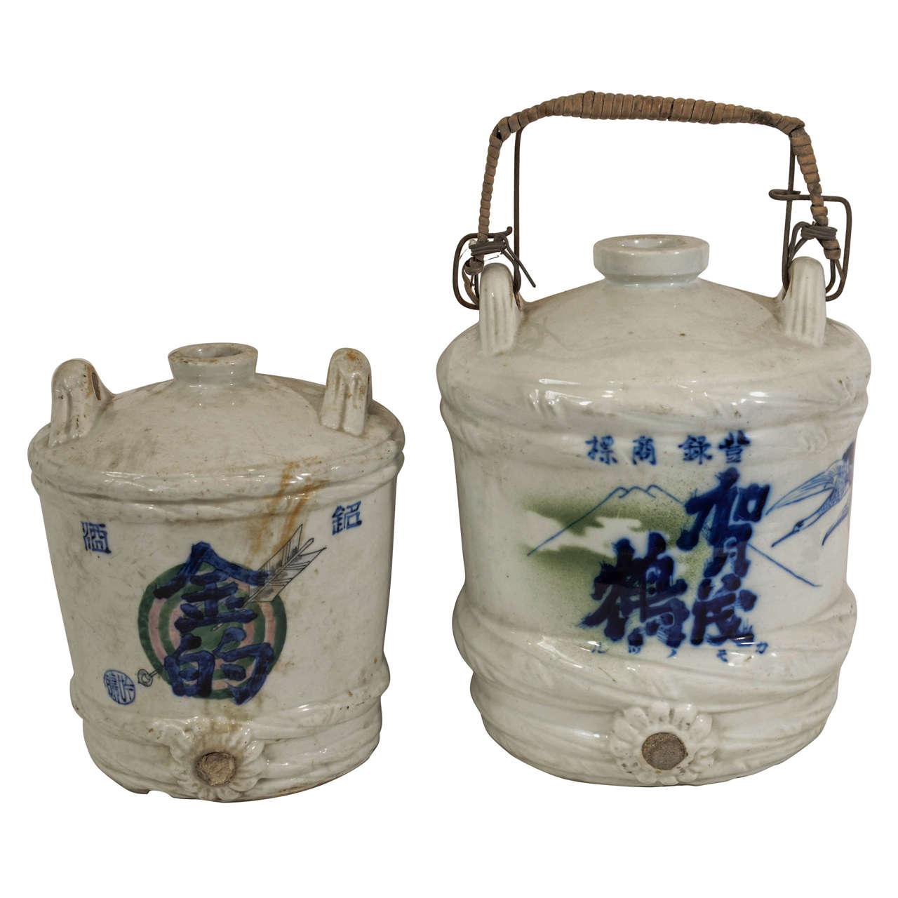 Antique Porcelain Japanese Wine Jars