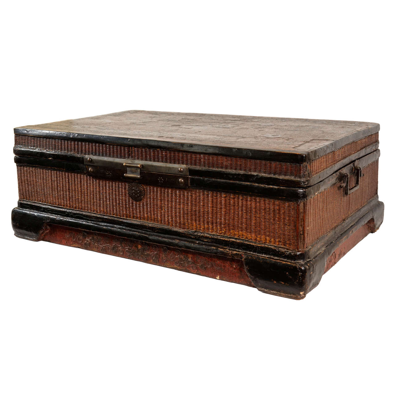 19th Century Red and Black Chinese Woven Trunk