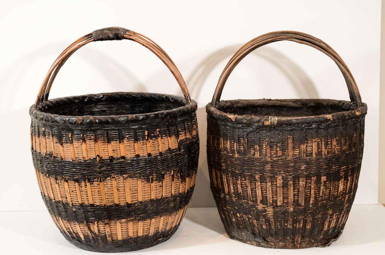 Antique Chinese Woven Food Baskets For Sale 2