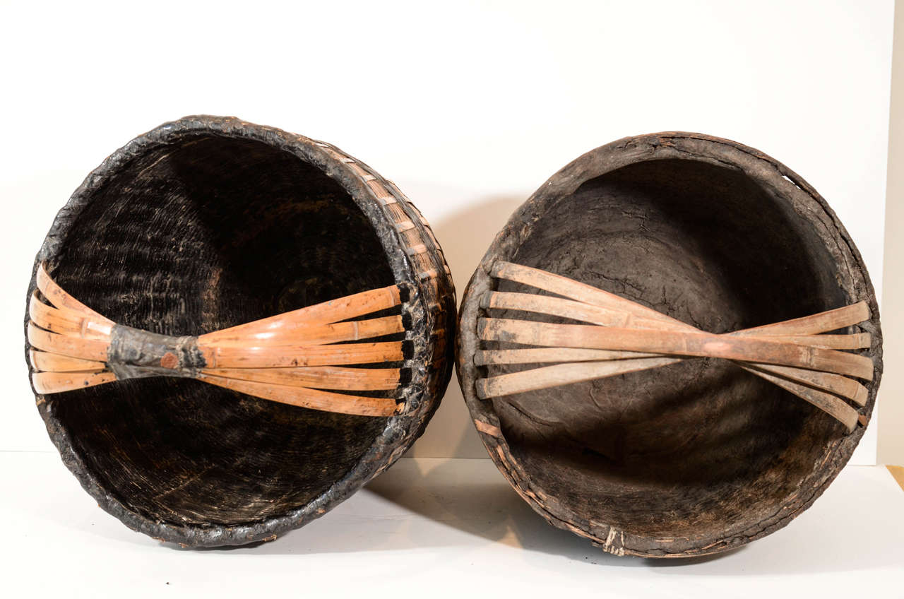 Antique Chinese Woven Food Baskets For Sale 5