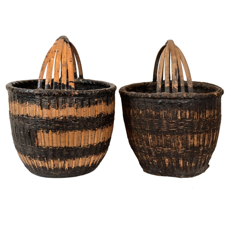 Antique Chinese Woven Food Baskets For Sale