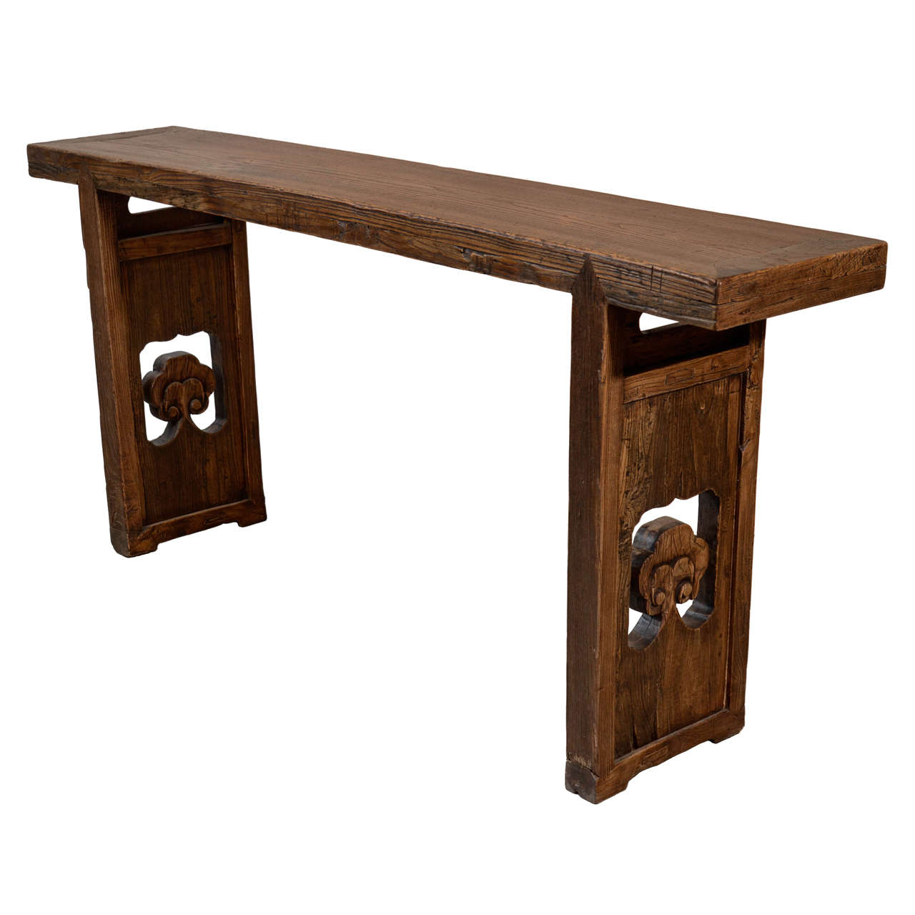 19th Century Chinese Carved Elm Console