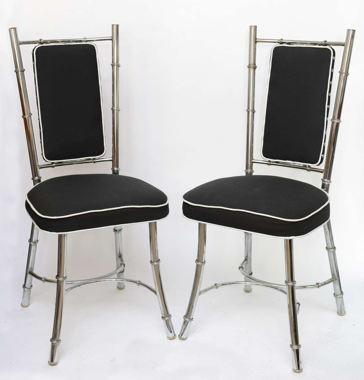 Pair 60 39 s bamboo style chrome side chairs at 1stdibs for Furniture 60s style